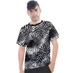 Tropical leafs pattern, black and white jungle theme Men s Sport Top
