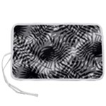 Tropical leafs pattern, black and white jungle theme Pen Storage Case (S)