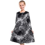 Tropical leafs pattern, black and white jungle theme Kids  Midi Sailor Dress