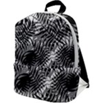 Tropical leafs pattern, black and white jungle theme Zip Up Backpack