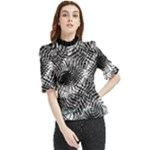 Tropical leafs pattern, black and white jungle theme Frill Neck Blouse