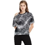Tropical leafs pattern, black and white jungle theme One Shoulder Cut Out Tee