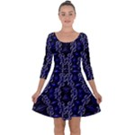 Mandala Cage Quarter Sleeve Skater Dress