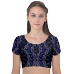 Mandala Cage Velvet Short Sleeve Crop Top