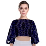 Mandala Cage Tie Back Butterfly Sleeve Chiffon Top