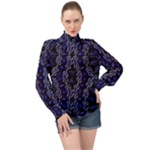 Mandala Cage High Neck Long Sleeve Chiffon Top