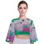 Crackling Green Tie Back Butterfly Sleeve Chiffon Top