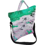 Crackling Green Fold Over Handle Tote Bag