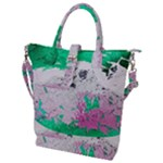 Crackling Green Buckle Top Tote Bag