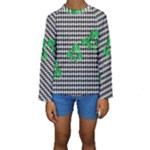 Houndstooth Leaf Kids  Long Sleeve Swimwear