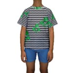 Houndstooth Leaf Kids  Short Sleeve Swimwear