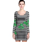 Houndstooth Leaf Long Sleeve Bodycon Dress