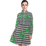 Houndstooth Leaf Long Sleeve Chiffon Shirt Dress