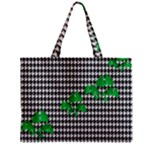 Houndstooth Leaf Zipper Mini Tote Bag
