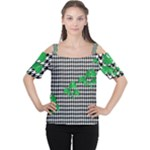 Houndstooth Leaf Cutout Shoulder Tee