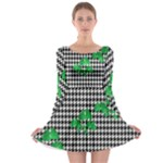 Houndstooth Leaf Long Sleeve Skater Dress