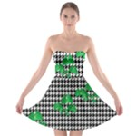 Houndstooth Leaf Strapless Bra Top Dress