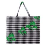 Houndstooth Leaf Zipper Large Tote Bag