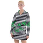 Houndstooth Leaf Women s Long Sleeve Casual Dress