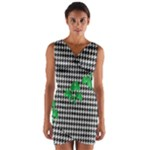 Houndstooth Leaf Wrap Front Bodycon Dress