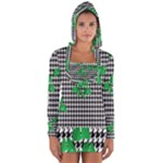 Houndstooth Leaf Long Sleeve Hooded T-shirt