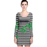 Houndstooth Leaf Long Sleeve Velvet Bodycon Dress