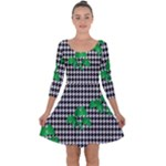 Houndstooth Leaf Quarter Sleeve Skater Dress