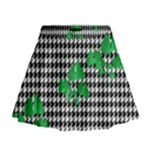 Houndstooth Leaf Mini Flare Skirt