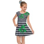 Houndstooth Leaf Kids  Cap Sleeve Dress