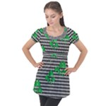 Houndstooth Leaf Puff Sleeve Tunic Top