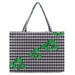 Houndstooth Leaf Zipper Medium Tote Bag