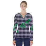Houndstooth Leaf V-Neck Long Sleeve Top