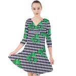 Houndstooth Leaf Quarter Sleeve Front Wrap Dress