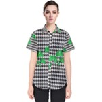 Houndstooth Leaf Women s Short Sleeve Shirt