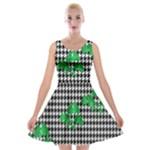 Houndstooth Leaf Velvet Skater Dress