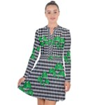 Houndstooth Leaf Long Sleeve Panel Dress