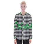 Houndstooth Leaf Womens Long Sleeve Shirt