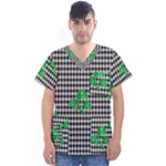 Houndstooth Leaf Men s V-Neck Scrub Top