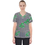 Houndstooth Leaf Women s V-Neck Scrub Top