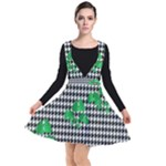 Houndstooth Leaf Plunge Pinafore Dress