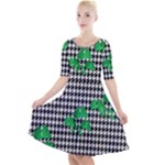Houndstooth Leaf Quarter Sleeve A-Line Dress