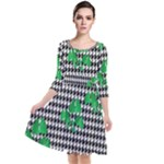 Houndstooth Leaf Quarter Sleeve Waist Band Dress