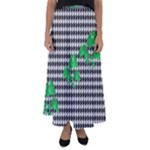 Houndstooth Leaf Flared Maxi Skirt
