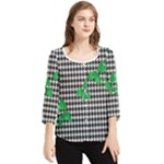 Houndstooth Leaf Chiffon Quarter Sleeve Blouse