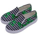 Houndstooth Leaf Kids  Canvas Slip Ons
