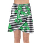Houndstooth Leaf Wrap Front Skirt