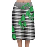 Houndstooth Leaf Velvet Flared Midi Skirt