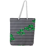 Houndstooth Leaf Full Print Rope Handle Tote (Large)