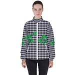 Houndstooth Leaf Women s High Neck Windbreaker