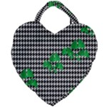 Houndstooth Leaf Giant Heart Shaped Tote